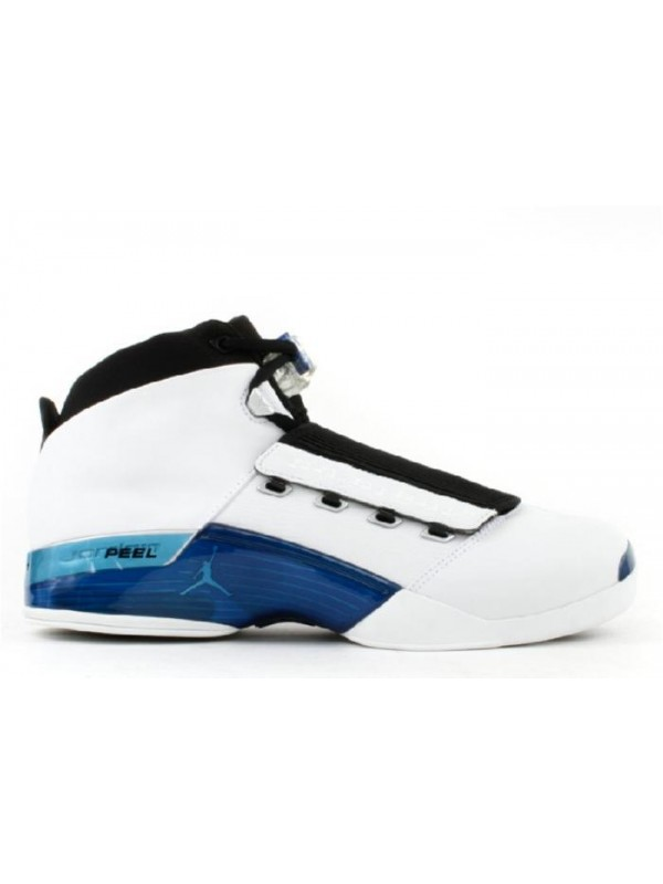 UA Air Jordan 17 White College Blue Black