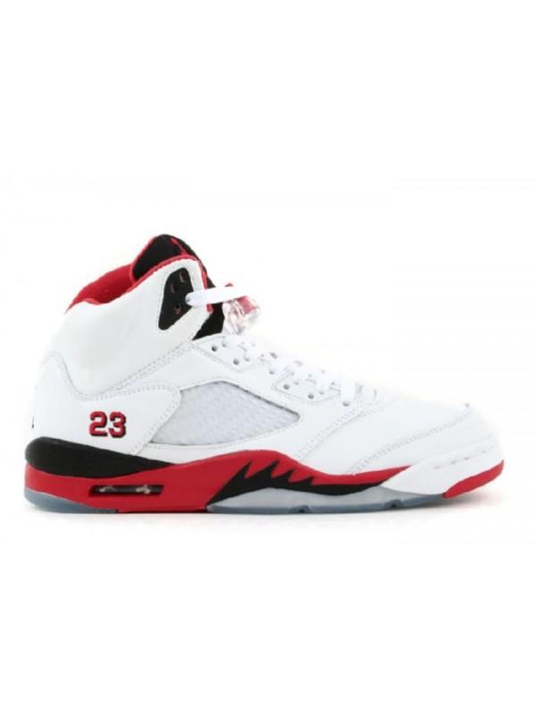 UA Air Jordan 5 Retro White Fire Red Black