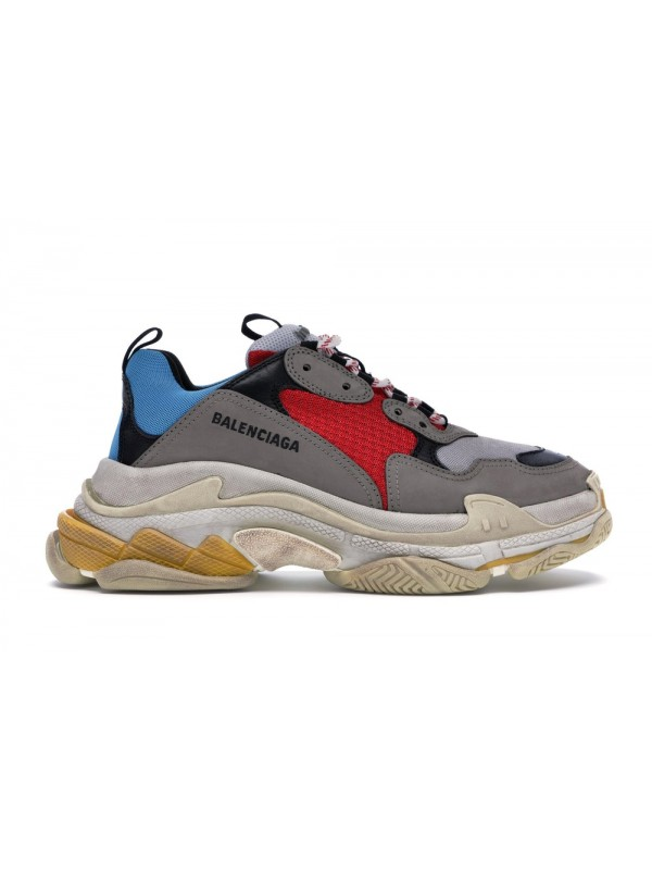 UA Balenciaga Triple S Grey Red Blue