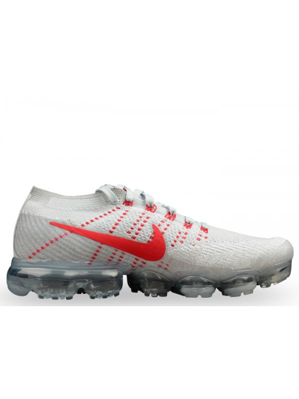 UA Nike Air Vapormax Flyknit Pure Platinum University Red Shoes for Sale